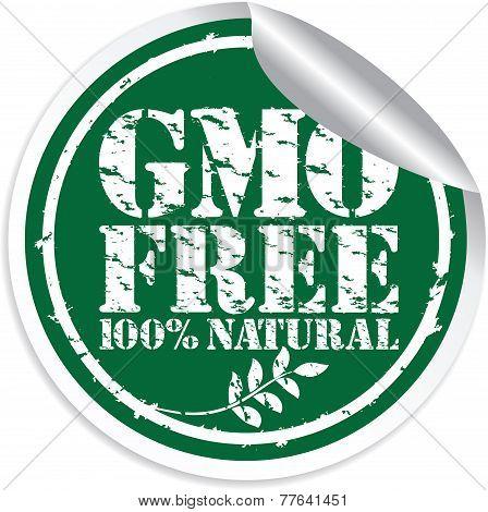Gmo Free 100% Natural Grunge Sticker, Vector Illustration
