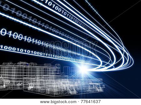 Wire-frame building, light beams and digits on dark background