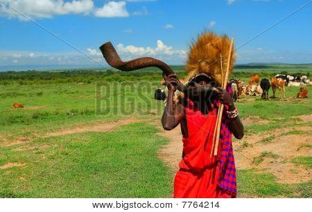 Guerreiro Masai jogando tradicional chifre, África, Quênia, MASAI MARA, novembro 12,2008
