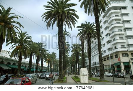 Central boulevard with hotels and shops in Casablanca