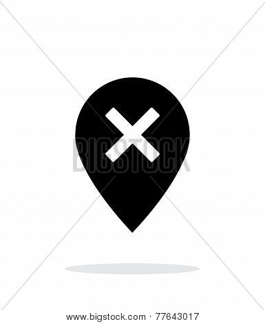 Delete map pin icon on white background.