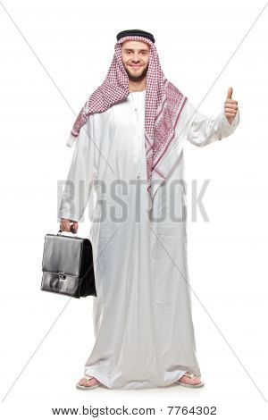 An arab person with a thumbs up