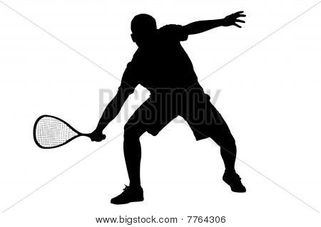 A silhouette of a squah player