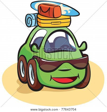 Traveling Car Cartoon Vector