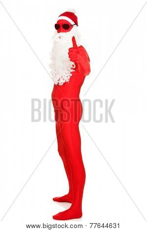 Side view santa in latex clothing with thumbs up.