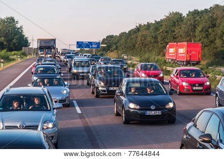 Traffic Jam On A Freeway In Denmark