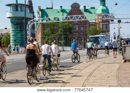 People Biking In Copenhagen, Denmark