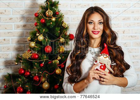 Cute Girl Is In Christmas Interior