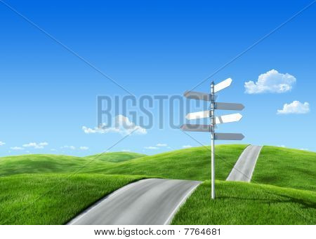 7000px Nature Collection - Green Meadow Template with roadsign