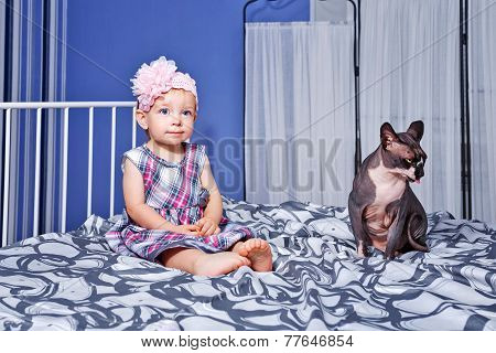 Little Girl And Sphinx Cat