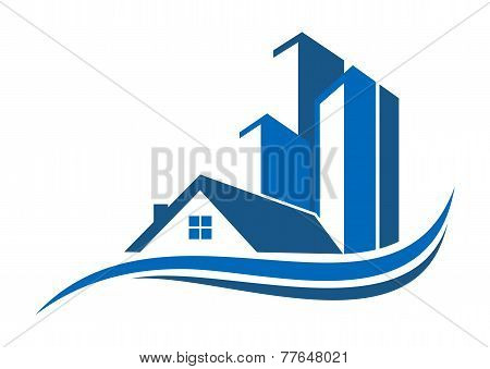 Real estate solution logo symbol design vector