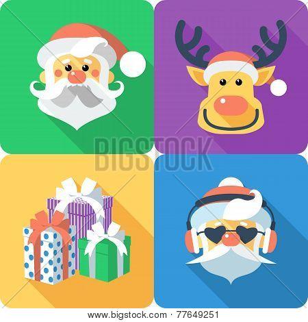 Christmas Set Icon Flat Design