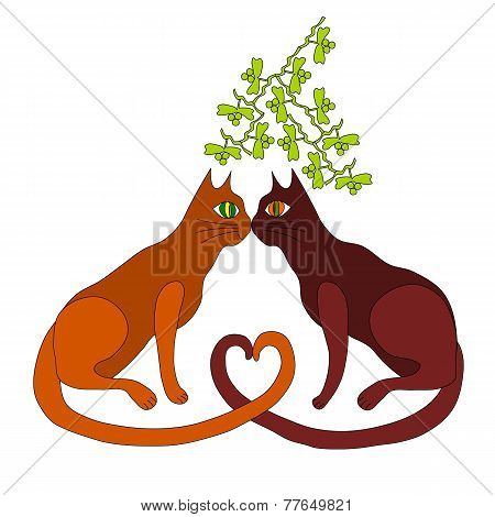 Two cats kiss under the mistletoe