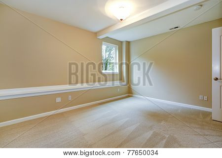 Bright Empty Bedroom In Light Ivory Tone