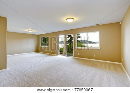 Spacious Family Room With Clean Carpet Floor And Exit To Walkout Patio