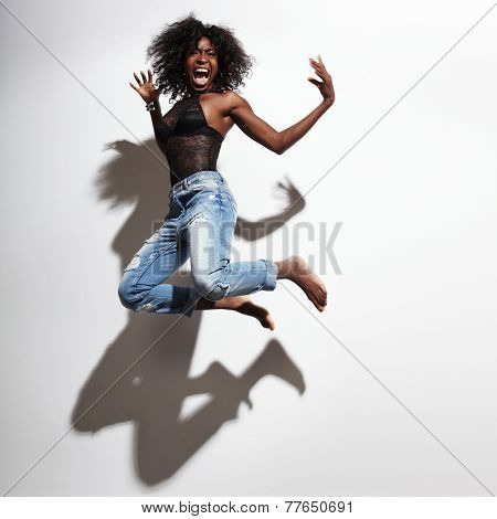 Jumping And Screaming Black An Wearing Jeans
