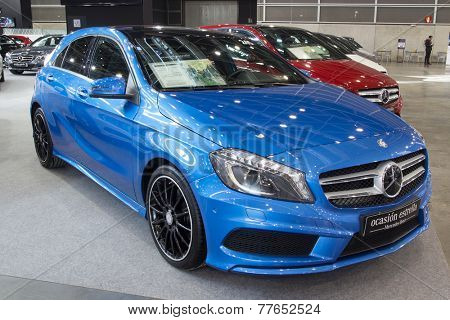 VALENCIA, SPAIN - DECEMBER 4, 2014:  A blue 2013 Mercedes A220 CDI AMG Sport at the Valencia Automovil 2014 Car Show.