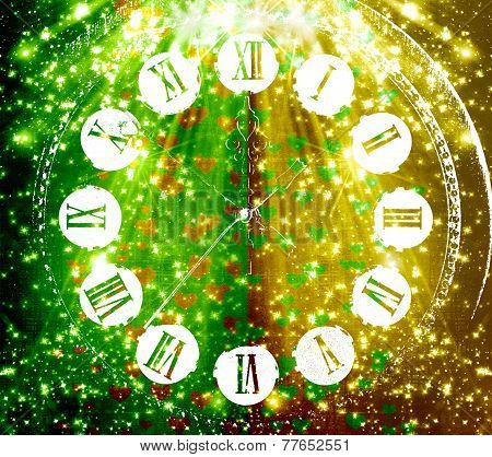 Antique Clock Face On Abstract Multicolored Background With Blur Bokeh And Hearts For Design