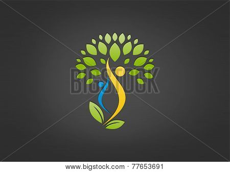 Natural Body Health Logo, Wellness Plant Human Symbol Icon