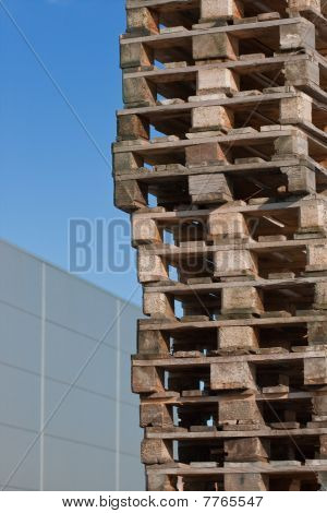 Euro Pallets In Front Of Building