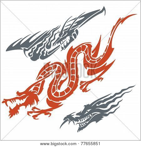 Dragons for tattoo. Vector set.