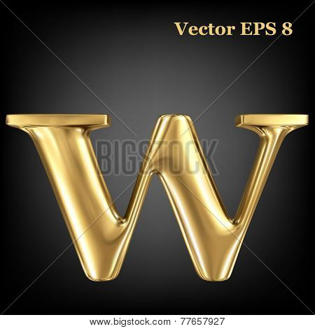 Golden shining metallic 3D symbol lowercase letter w, vector EPS8