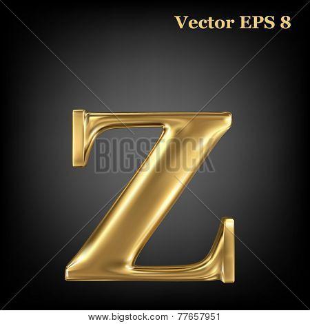Golden shining metallic 3D symbol lowercase letter z, vector EPS8