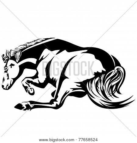 Black-and-white drawing horse wallow