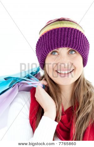 Positive Woman Holding Shopping Bags