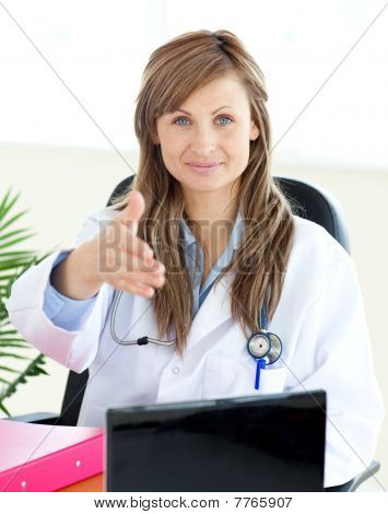Confident Female Doctor Looking At The Camera