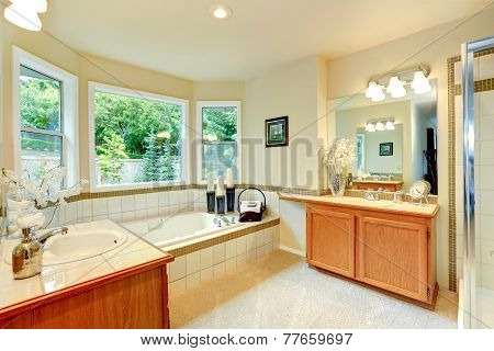 Bathroom With Two Vanity Cabinets