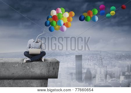 Boy With Balloons Head On The Roof
