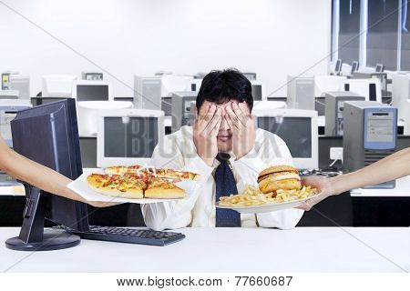 Businessman Avoid Junk Food