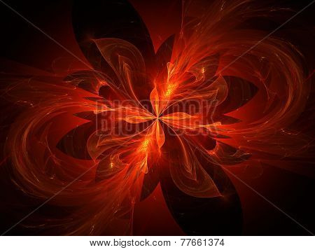 Glowing Four Dimensional Flames In Space