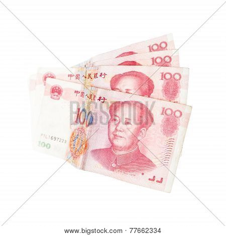 Chinese Yuan Renminbi Banknotes Isolated On White