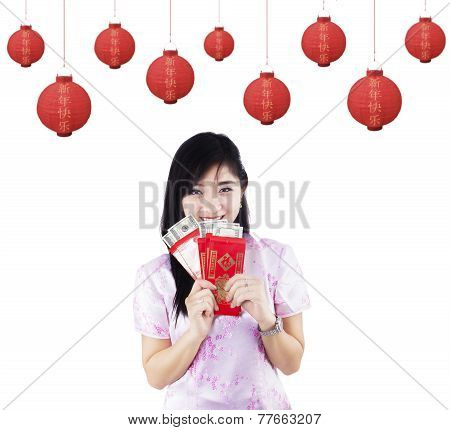 Pretty Girl Holding Red Packet Gift