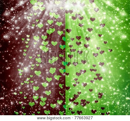 Abstract Multicolored Background With Blur Bokeh And Hearts For Design