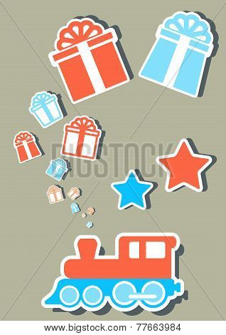 isolated holiday train with gifts boxes