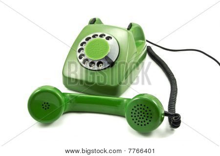 Old-fashioned green analogue phone