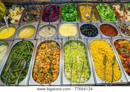 Nice salad buffet in a restaurant