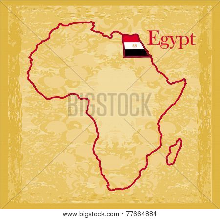 Egypt On Actual Vintage Political Map Of Africa