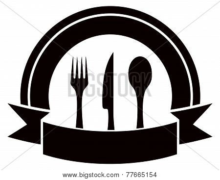 restaurant invitation icon with table ware and tape