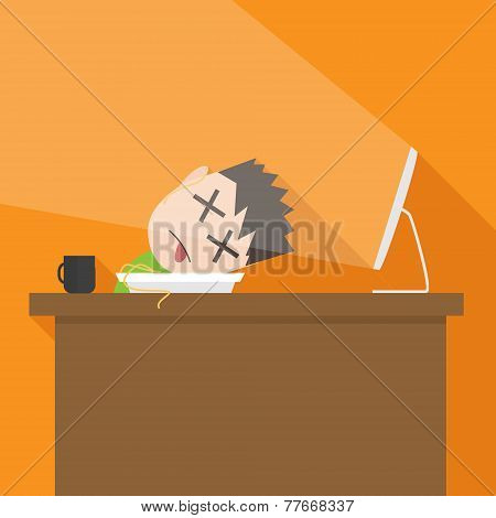 Vector flat simple illustration of tired man