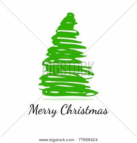 Isolated abstract green Christmas tree on a white background
