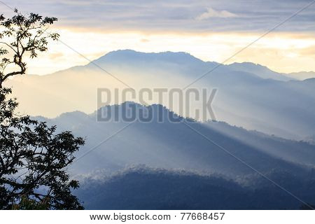 Clouds With Silhouetted Mountians