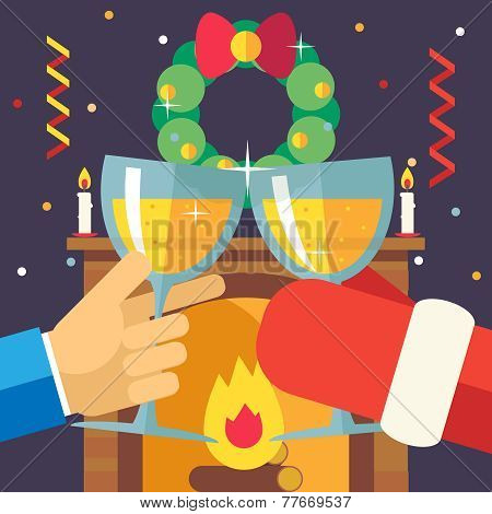 New Year Christmas with Santa Claus Celebration Success and Prosperity Symbol Hands Holds a Glasses
