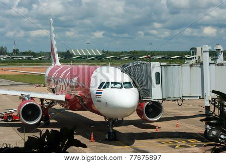 Bangkok, Thailand - October 23, 2014:  Air Asia Aircraft In Bangkok Airport On October 23, 2014. Air