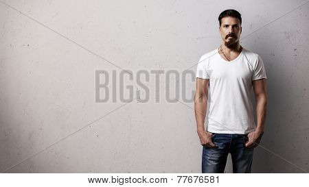 Bearded Handsome Guy Wearing White Blank T-shirt
