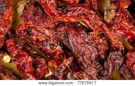 Macro Closeup Background Texture Of Dehydrated Red Kashmiri Chili