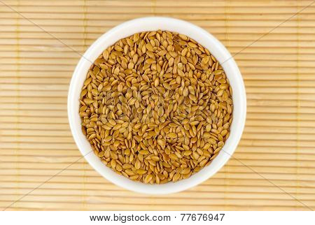 Aerial Top View Of Golden Flaxseed